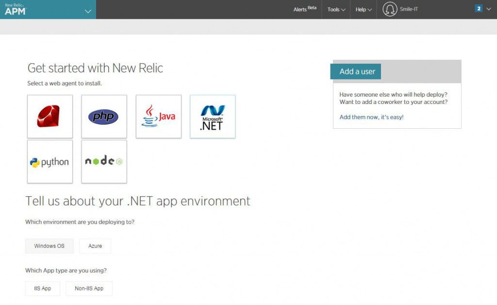 newRelic APM start page with .NET selected