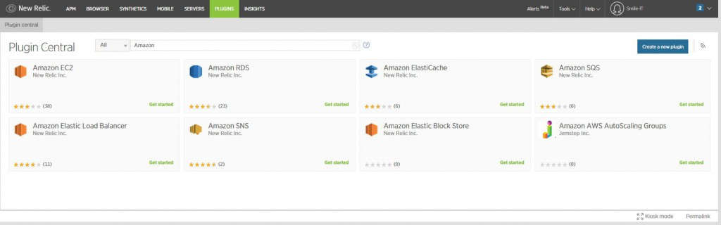 newRelic plugins for AWS