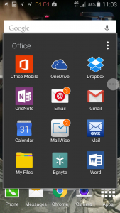 Android eMail apps as shown in the home screen folder