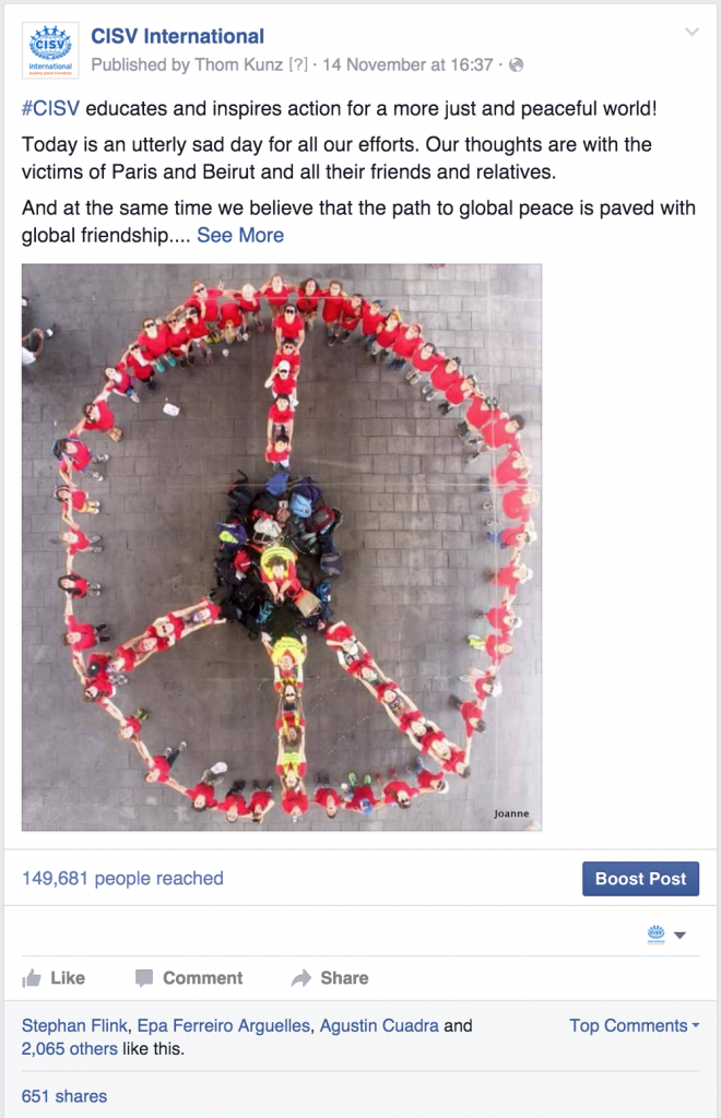 "facebook post on ""CISV International"" reaching nearly 150k users"