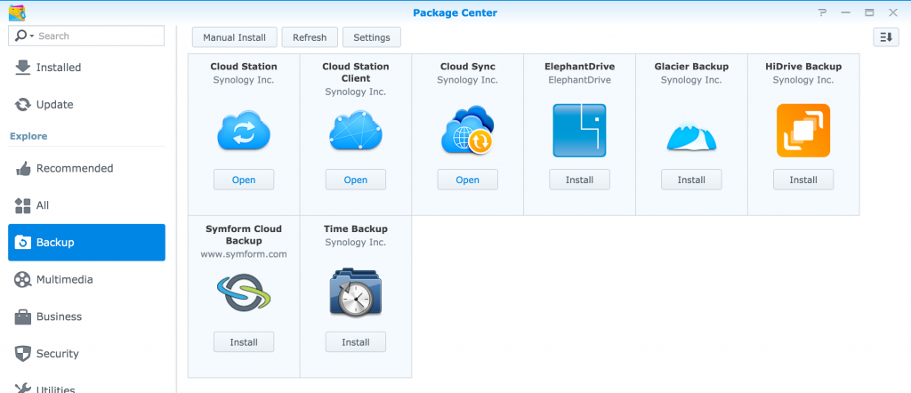 Synology Backup related Packages