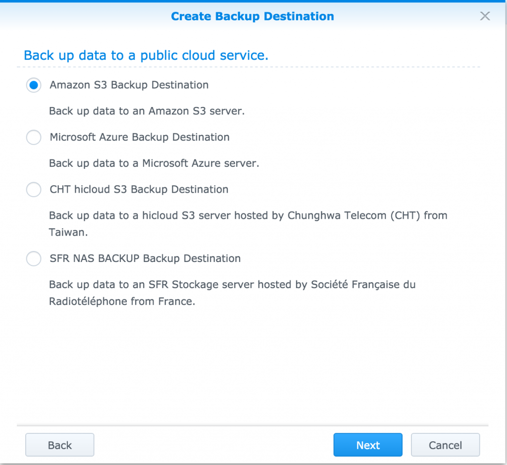 Synology Cloud Backup: Selecting the cloud provider