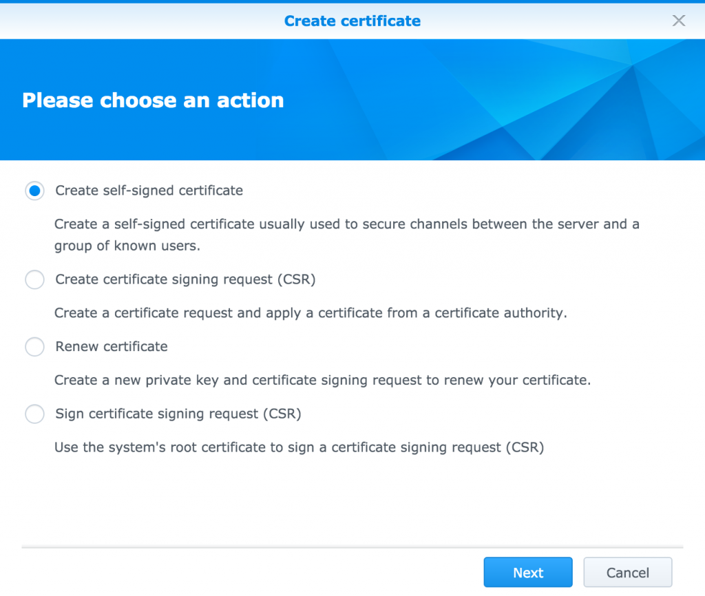 Synology: Create SSL Certificate - Options